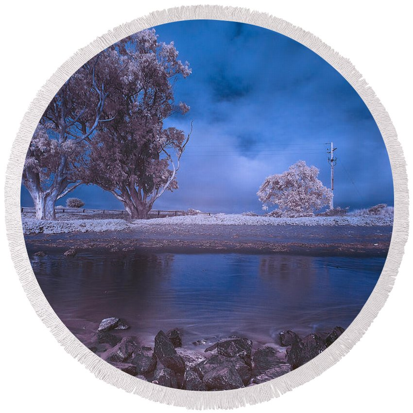 Eucalyptus Round Beach Towel featuring the photograph Humboldt Bay Infrared by Greg Nyquist