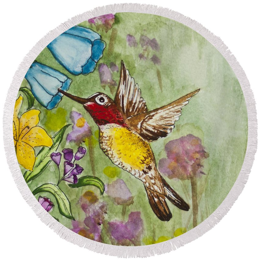 Humming Bird Round Beach Towel featuring the painting Humming Bird by Janis Lee Colon