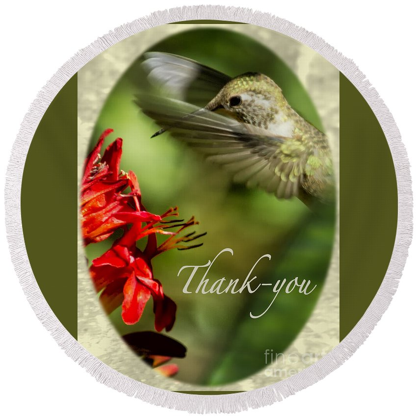 Thank-you Card Round Beach Towel featuring the photograph Hummingbird Thanks by Belinda Greb