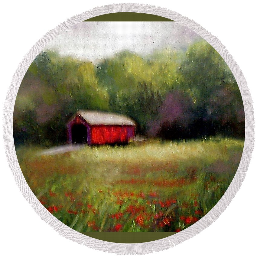 Covered Bridge Round Beach Towel featuring the painting Hune Bridge by Gail Kirtz