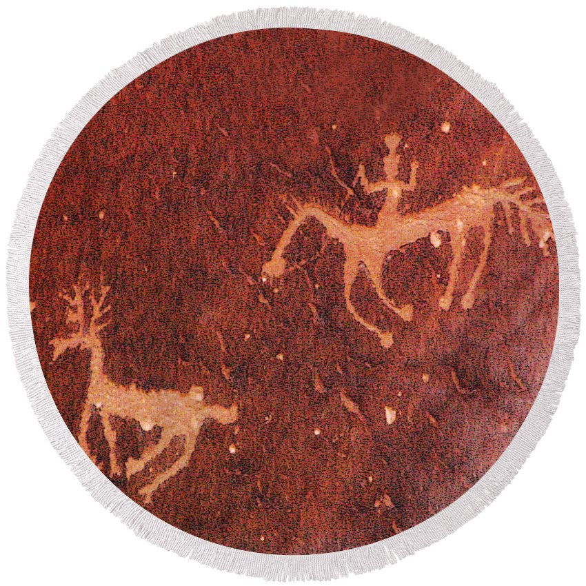 Petroglyph Round Beach Towel featuring the photograph Hunter And The Hunted by Joe Kozlowski