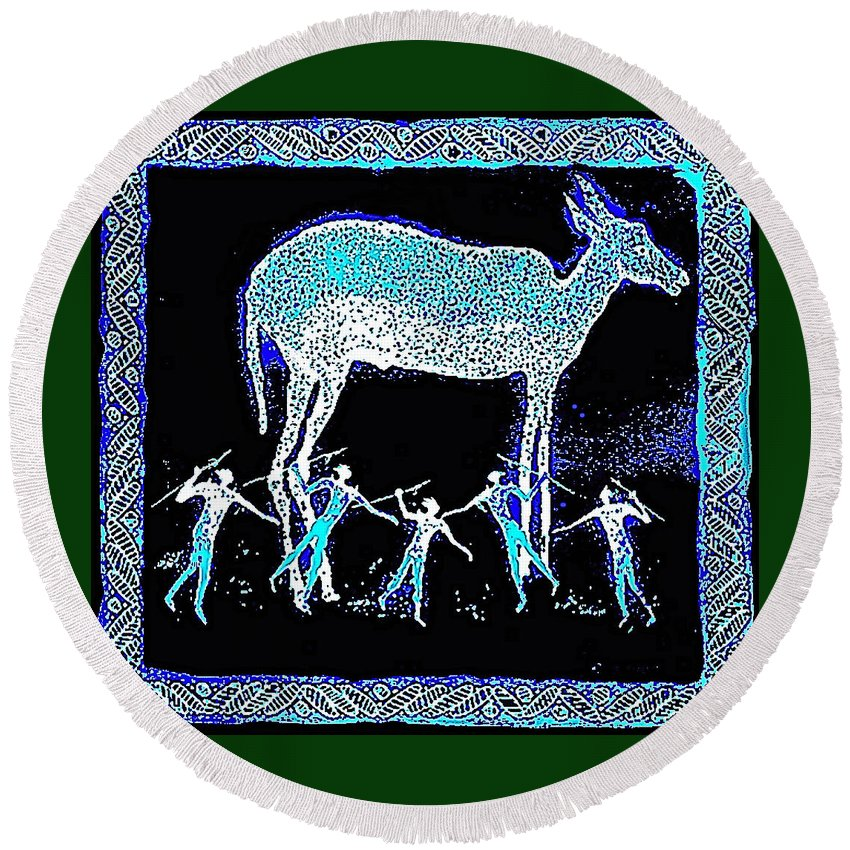 Night Hunt Round Beach Towel featuring the mixed media Hunters Dream by Hartmut Jager