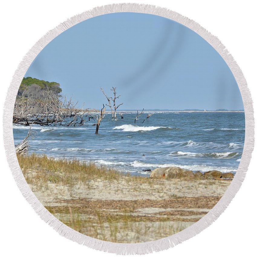 Coast Round Beach Towel featuring the photograph Hunting Island State Park by Carol Bradley