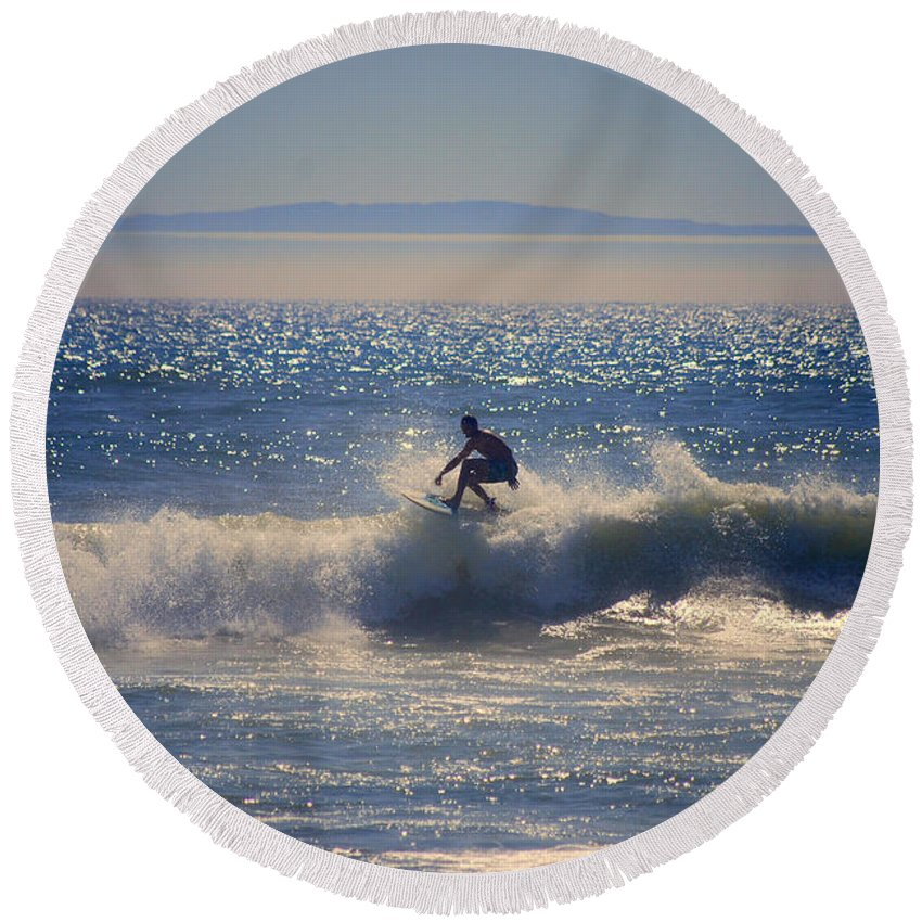 Surfer Round Beach Towel featuring the photograph Huntington Beach California Surfer by Catherine Sherman