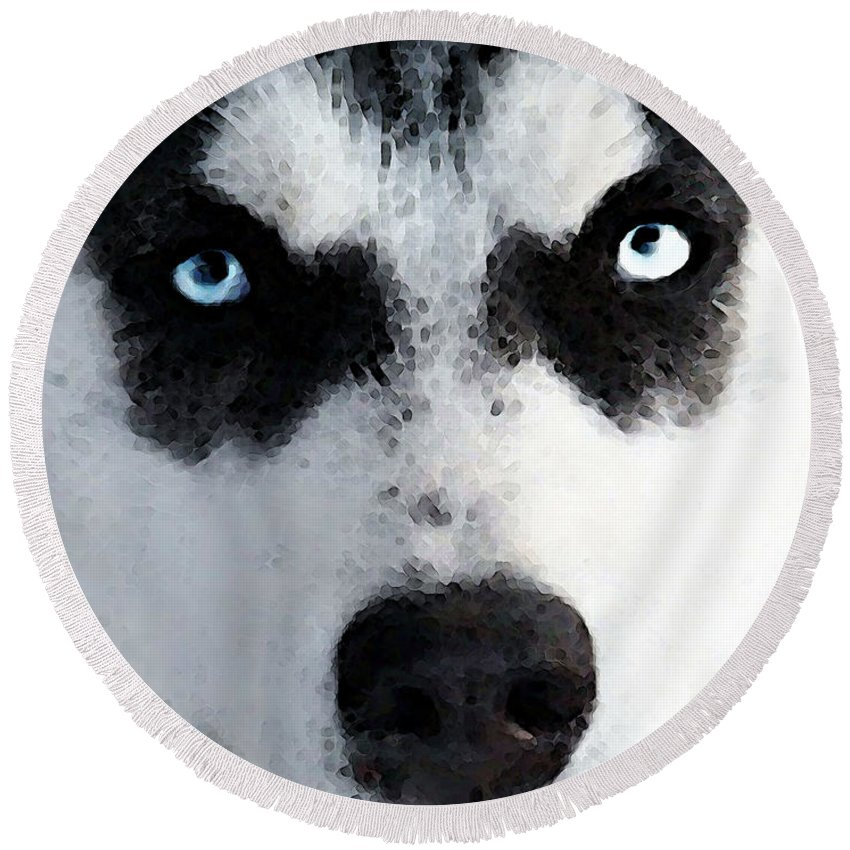 Husky Round Beach Towel featuring the painting Husky Dog Art - Bat Man by Sharon Cummings