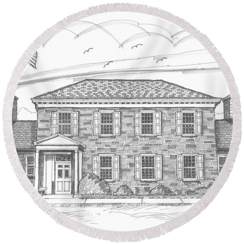 Hyde Park Round Beach Towel featuring the drawing Hyde Park Post Office by Richard Wambach