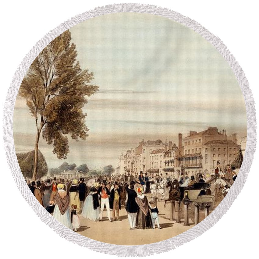 Hyde Park Round Beach Towel featuring the drawing Hyde Park, Towards The Grosvenor Gate by Thomas Shotter Boys