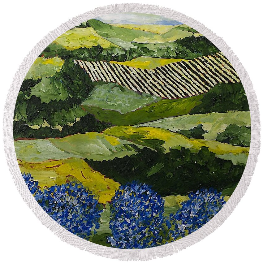 Landscape Round Beach Towel featuring the painting Hydrangea Valley by Allan P Friedlander