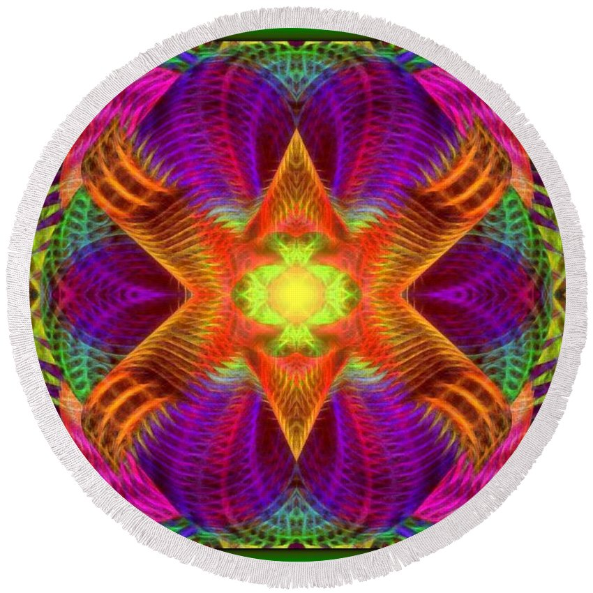 Fractal Art And Composition Round Beach Towel featuring the digital art Hypnotic Expression by Mario Carini