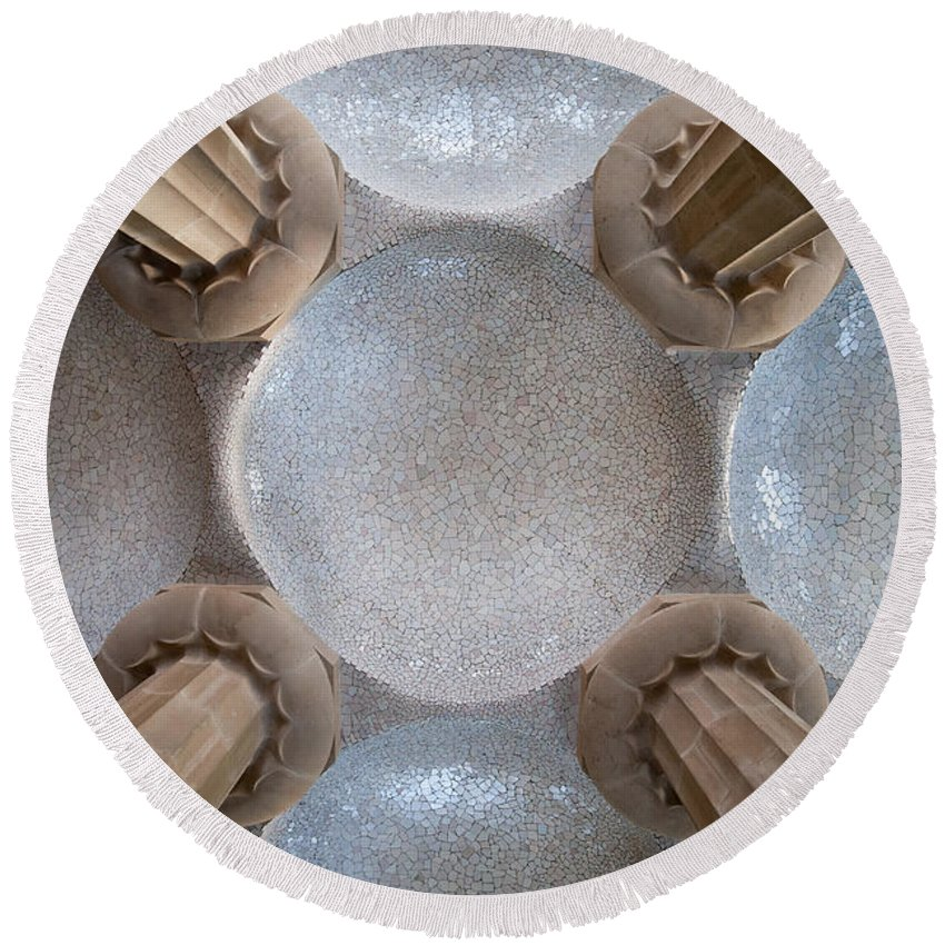 Park Round Beach Towel featuring the photograph Hypostyle Room Ceiling In Park Guell by Artur Bogacki