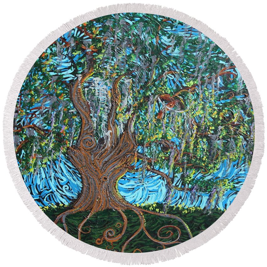 Landscape Round Beach Towel featuring the painting I Bow To Thee by Stefan Duncan