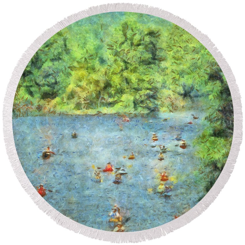Tree Round Beach Towel featuring the photograph I Can Canoe by Trish Tritz