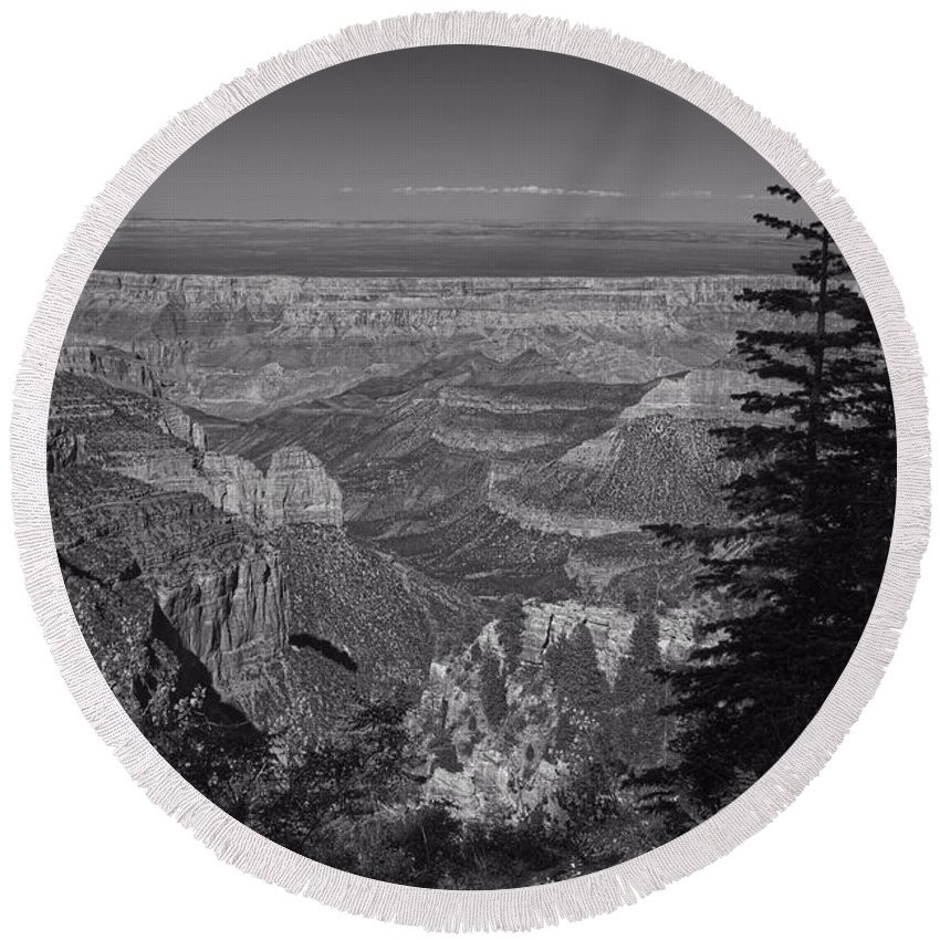 Grand Canyon Round Beach Towel featuring the photograph I Can See Forever by Lucinda Walter