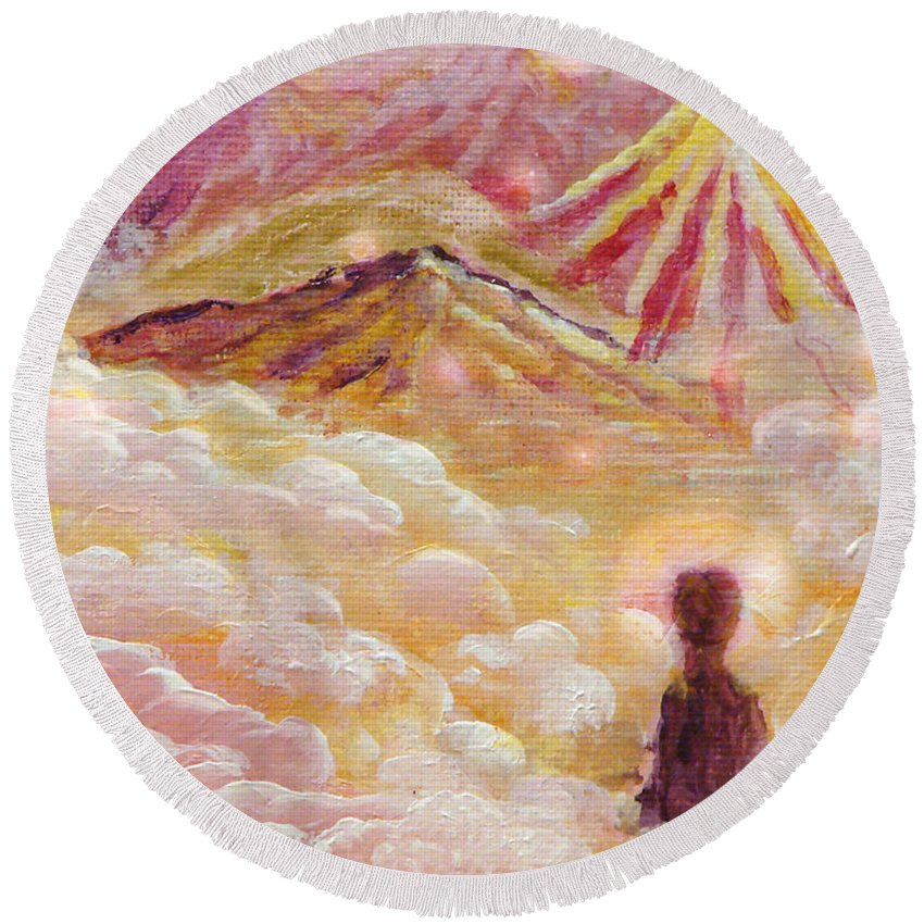 Meditating Round Beach Towel featuring the painting I Have Found by Ashleigh Dyan Bayer