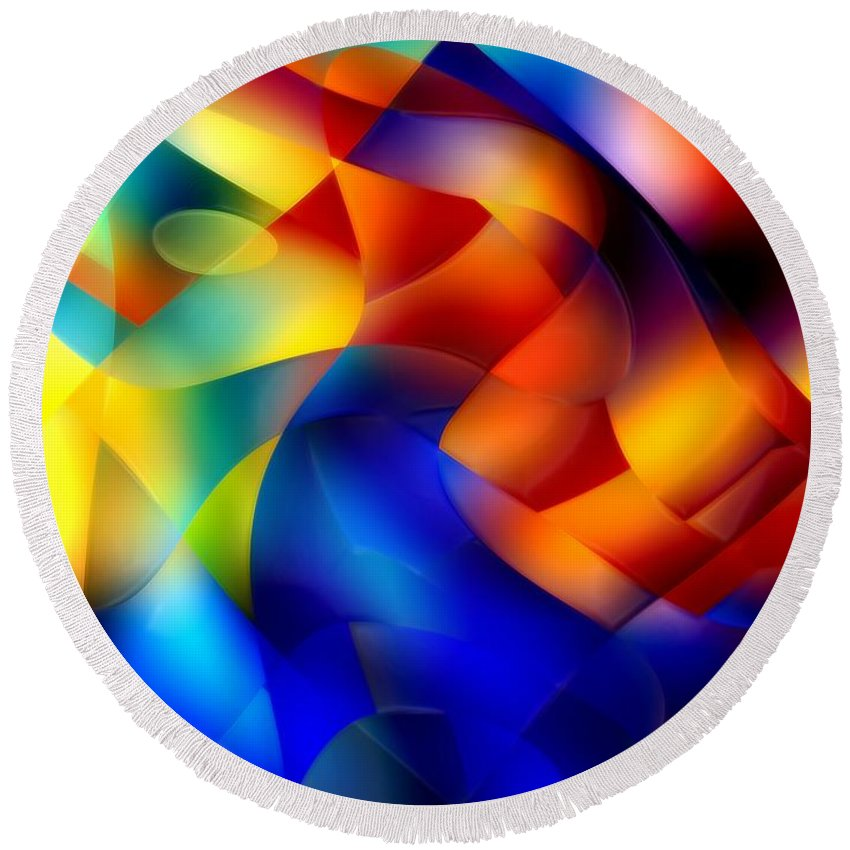 Abstract Round Beach Towel featuring the painting I Have Saved All My Ribbons by RC DeWinter
