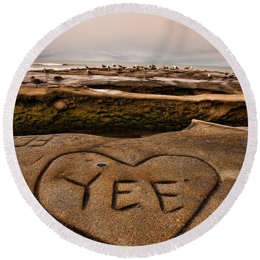 Beach Round Beach Towel featuring the photograph I Heart Yee by Peter Tellone