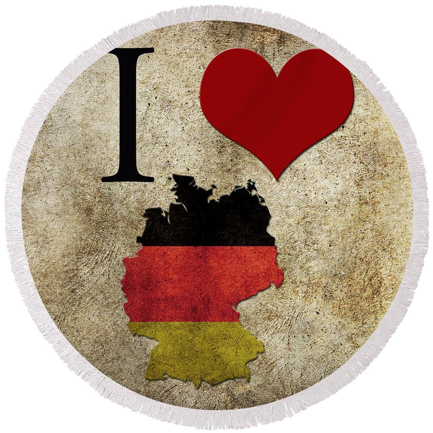 I Round Beach Towel featuring the digital art I Love Germany by Gina Dsgn