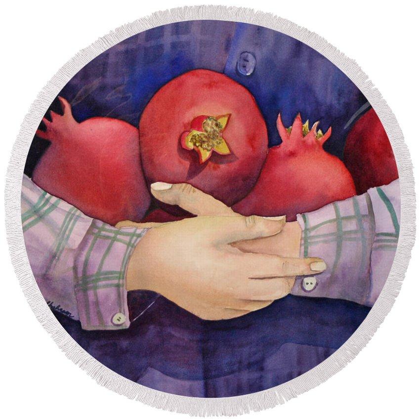 Nature Round Beach Towel featuring the painting I Love Pomogranates by Shirin Shahram Badie