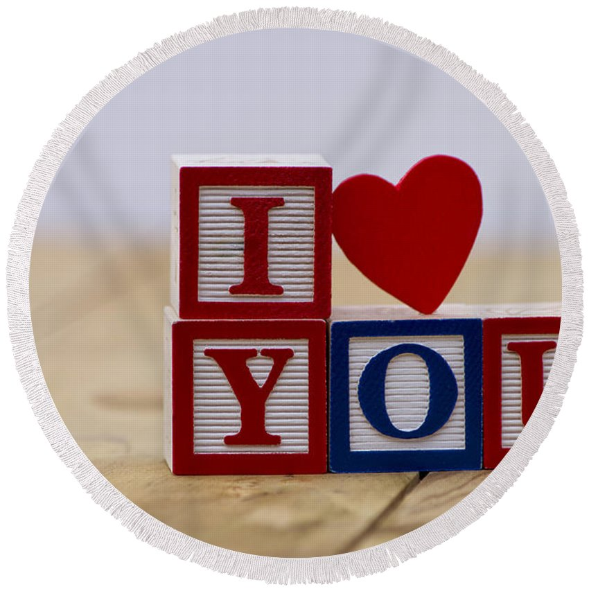 Background Round Beach Towel featuring the photograph I Love You by Paulo Goncalves