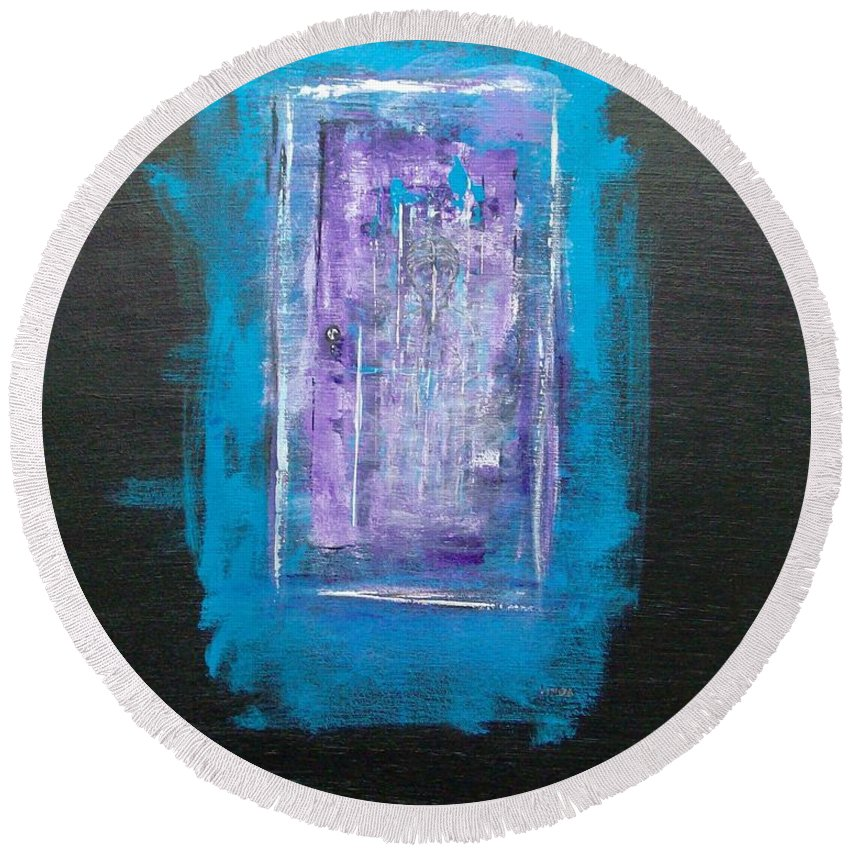 Abstract Round Beach Towel featuring the painting I Must Go In The Fog Is Rising by Linda Wimberly