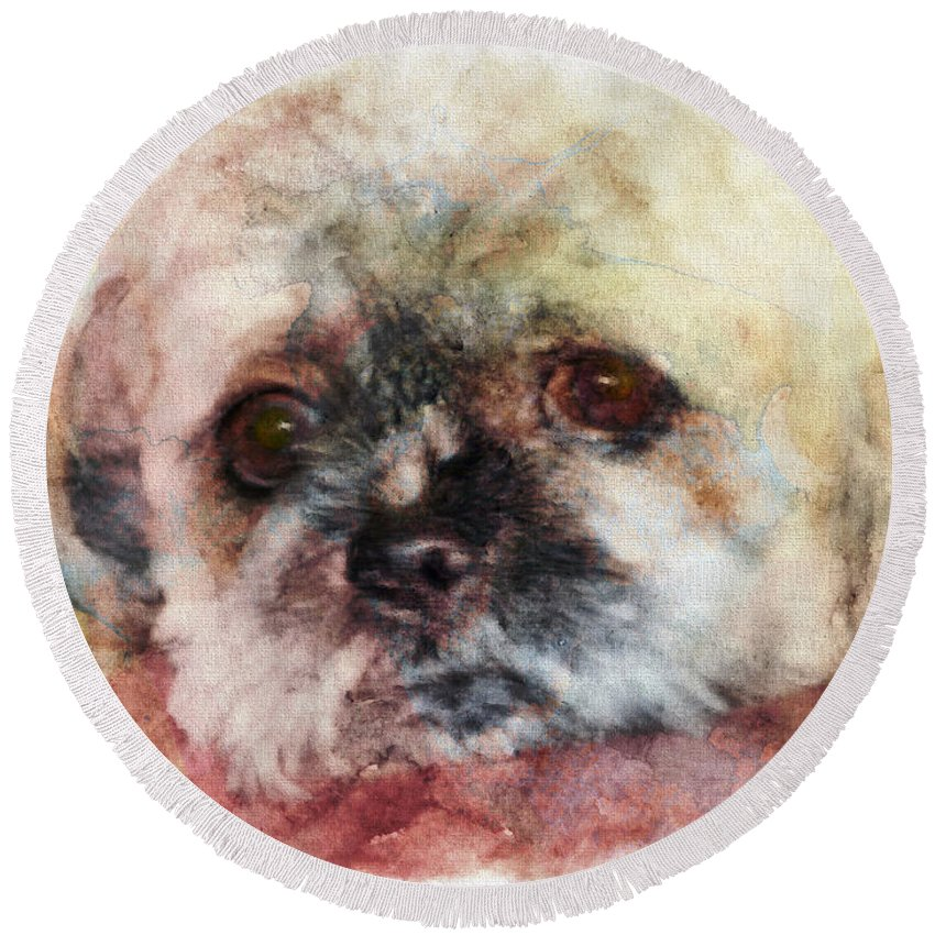Shih-tzu Round Beach Towel featuring the painting I Need A Friend - Featured In Cards For All Occasions by Ericamaxine Price