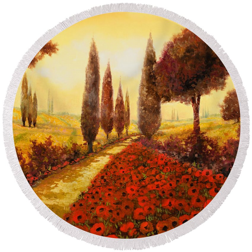 Poppy Fields Round Beach Towel featuring the painting I Papaveri In Estate by Guido Borelli