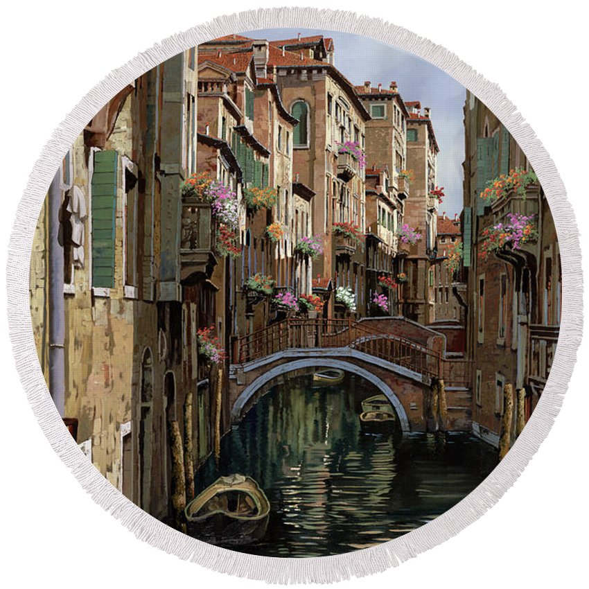 Venice Round Beach Towel featuring the painting I Ponti A Venezia by Guido Borelli
