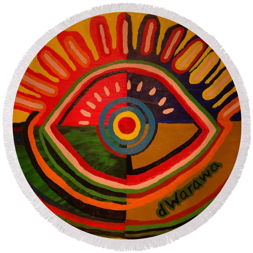 Abstract Round Beach Towel featuring the painting I See You 2 by Douglas W Warawa