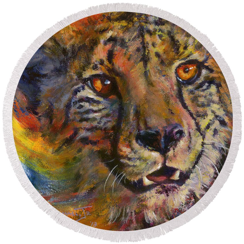 Cheetah Round Beach Towel featuring the painting I Spy by Don Michael Jr