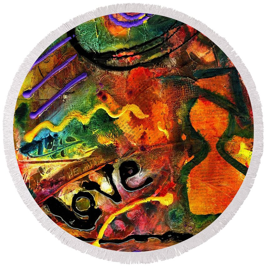Love Round Beach Towel featuring the mixed media I Wanna Go Home Now by Angela L Walker