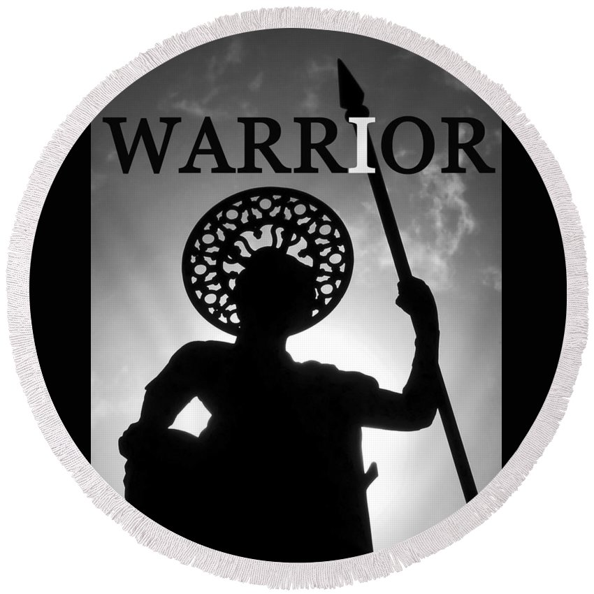 Warrior Round Beach Towel featuring the photograph I Warrior by David Lee Thompson