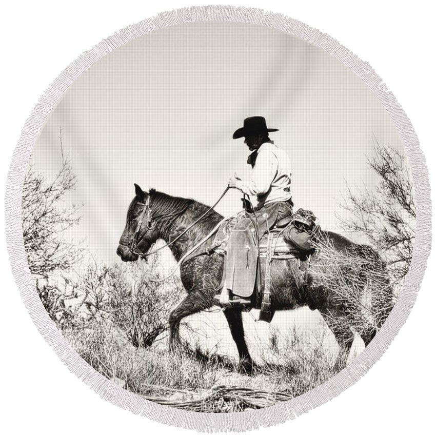 Cowboy Round Beach Towel featuring the photograph I Went Up To The Mountain... by Amanda Smith