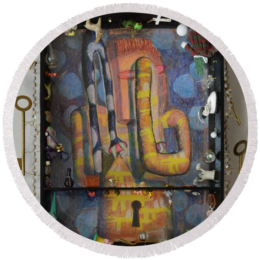 Abstract Modern Outsider Raw Arm Figure Dress Design Keyhole Yellow Blue Folk Surreal Arm Glass Round Beach Towel featuring the painting I Wouldn't Touch This Dress With A Ten Foot Pole - Framed by Nancy Mauerman