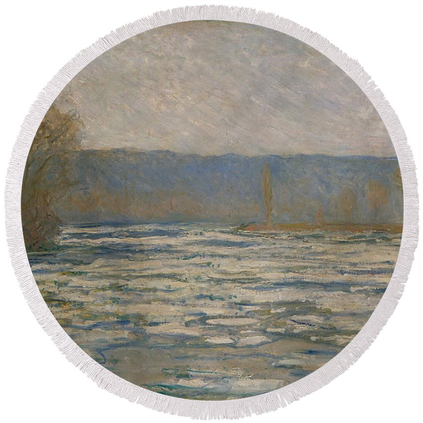 Claude Monet Round Beach Towel featuring the painting Ice Breaking Up On The Seine by Claude Monet
