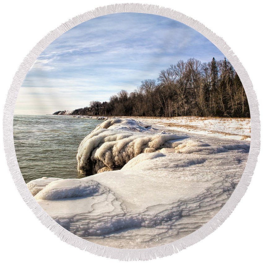 Icy Round Beach Towel featuring the photograph Ice Covered Shores Of Lake Michigan by Nikki Vig