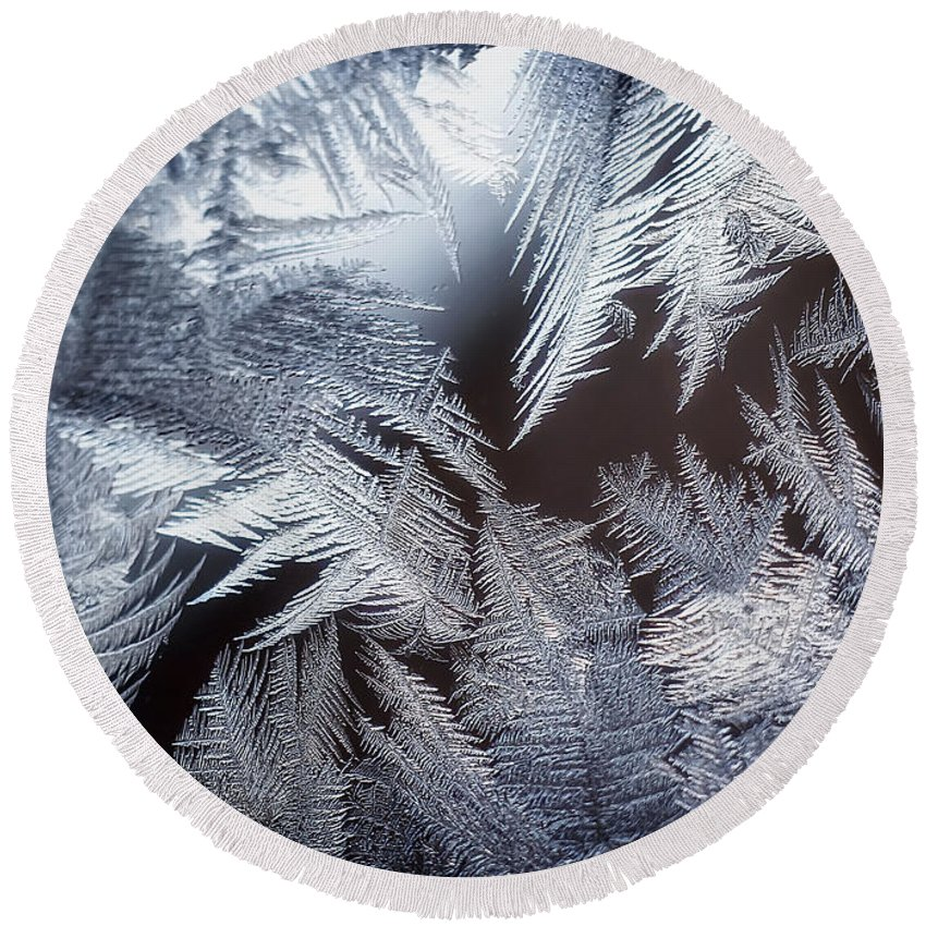 Ice Round Beach Towel featuring the photograph Ice Crystals by Scott Norris