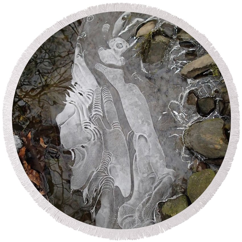 Winter Round Beach Towel featuring the photograph Ice Flow 2 by Robert Nickologianis