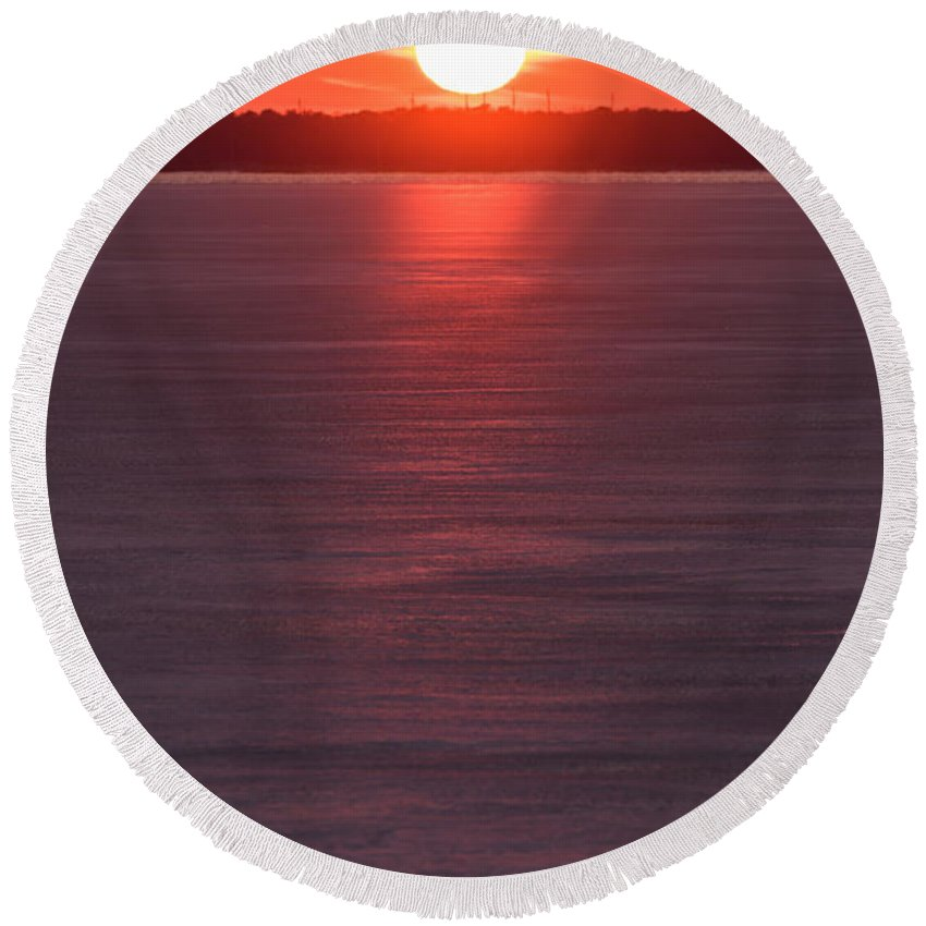 Terry Deluco Round Beach Towel featuring the photograph Ice Glow Sunset Seaside New Jersey by Terry DeLuco