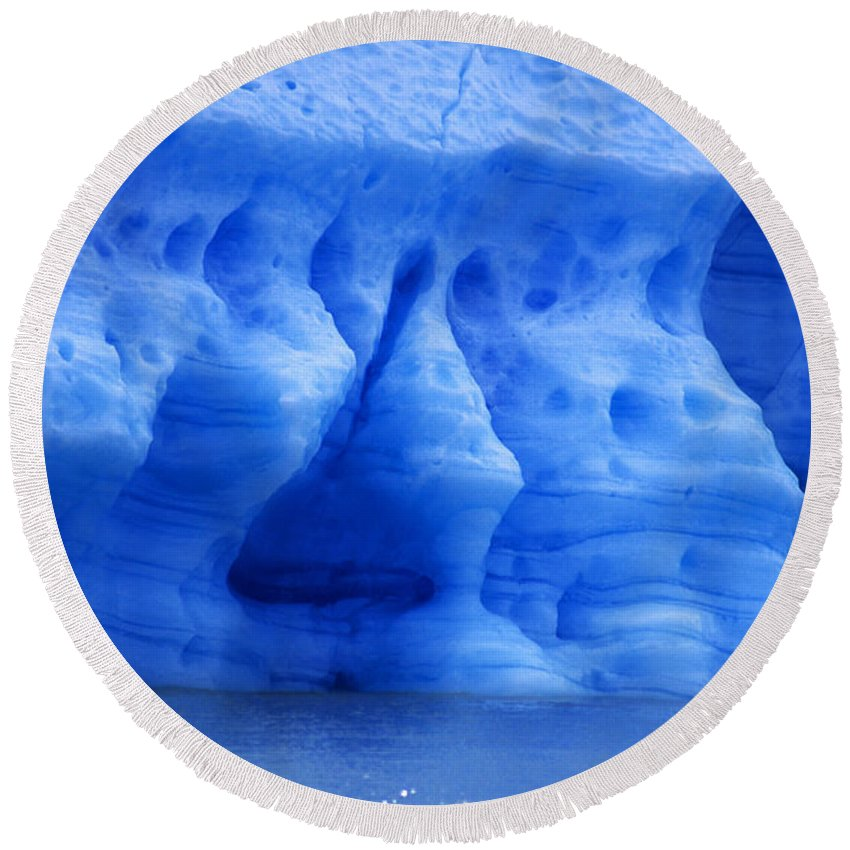 Glacier Round Beach Towel featuring the photograph Ice Sculpture by James Brunker