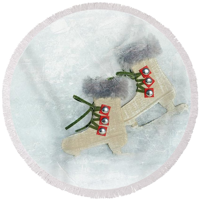 Sports Round Beach Towel featuring the photograph Ice Skates by Heike Hultsch
