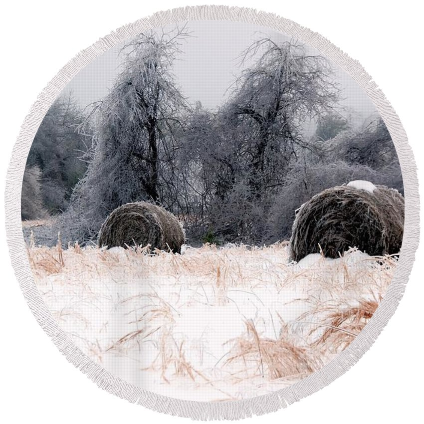 Ice Round Beach Towel featuring the photograph Ice Storm And Hay Bales In The Blue Rdige Mountains by John Harmon