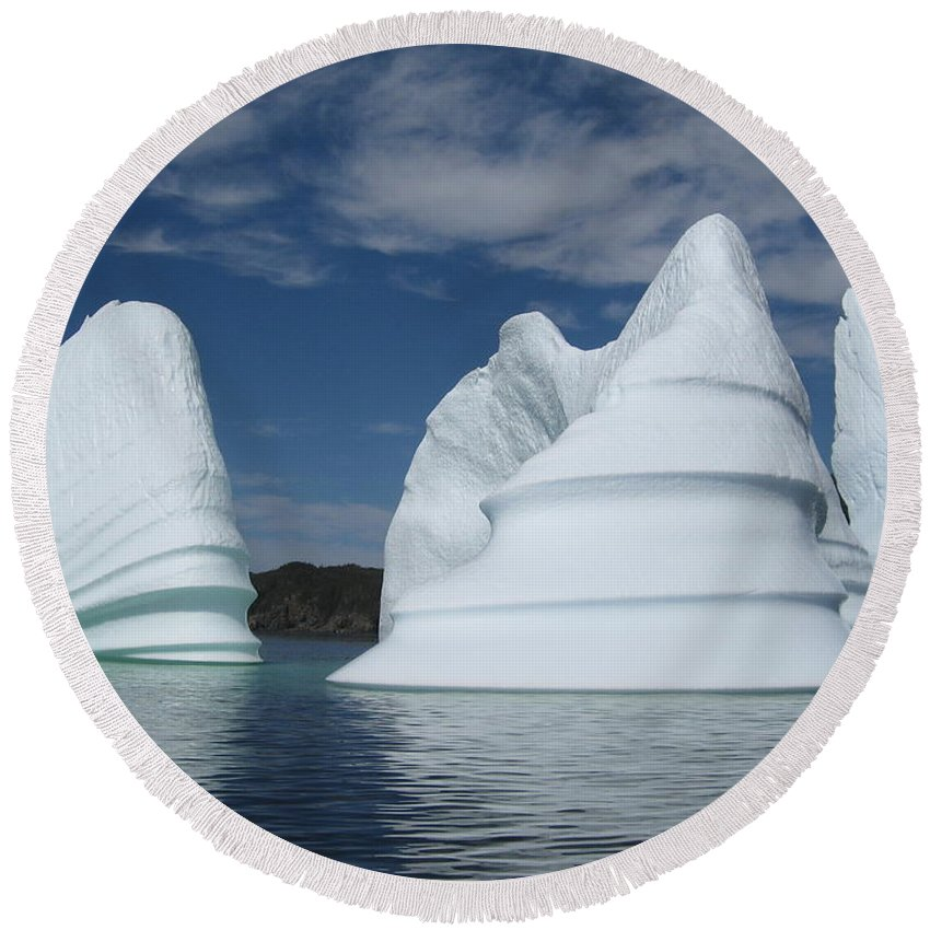 Iceberg Newfoundland Round Beach Towel featuring the photograph Icebergs by Seon-Jeong Kim