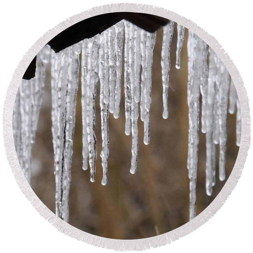 Icicles Round Beach Towel featuring the photograph Icicles by Matt Taylor