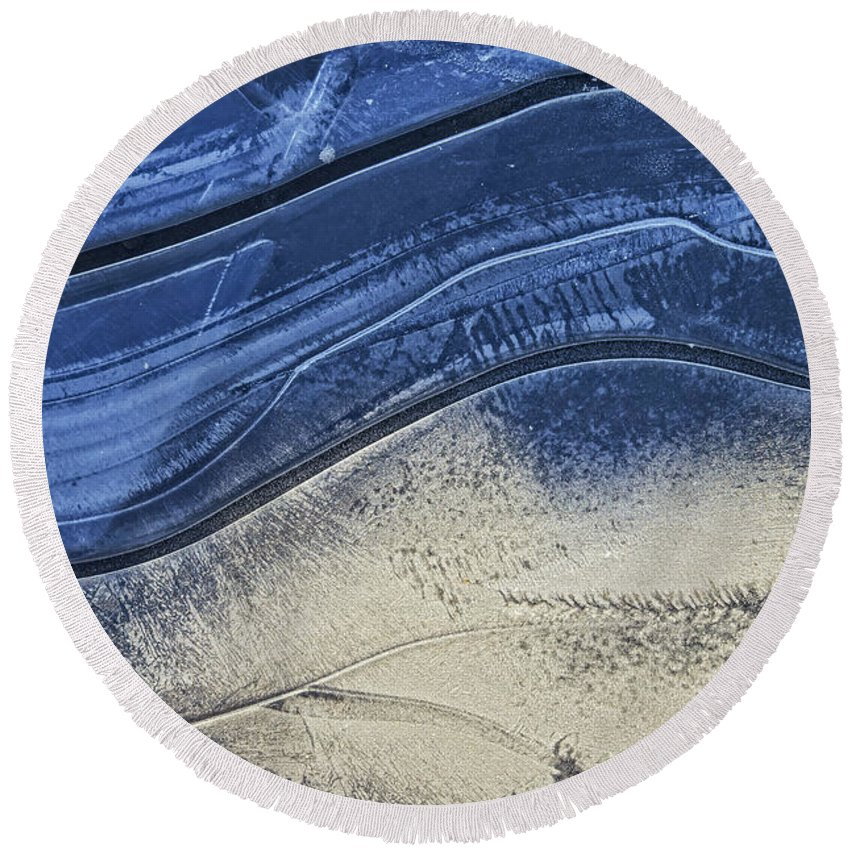 Ice Round Beach Towel featuring the photograph Icy Blue by David Stone