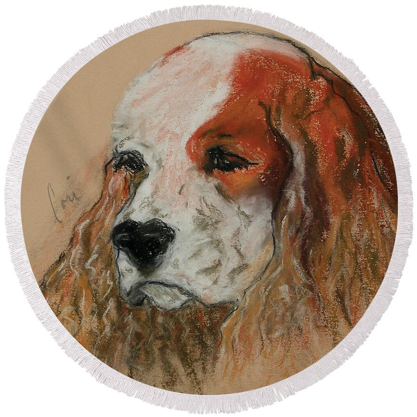 Dog Round Beach Towel featuring the pastel Idle Thoughts by Cori Solomon