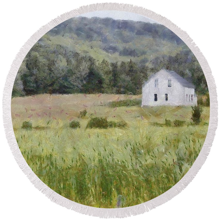 Alone Round Beach Towel featuring the painting Idyllic Isolation by Jeffrey Kolker