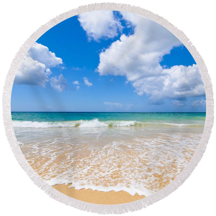Beach Round Beach Towel featuring the photograph Idyllic Summer Beach Algarve Portugal by Amanda Elwell