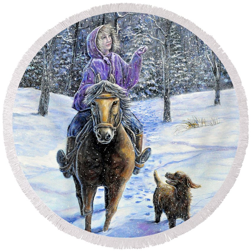 Nature Landscape Girl Ride Horse Dog Snow Country Friend Round Beach Towel featuring the painting If Snowflakes Were Wishes by Gail Butler