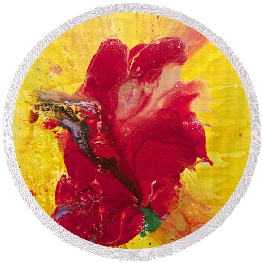 Floral Round Beach Towel featuring the painting Ignite by Kasha Ritter