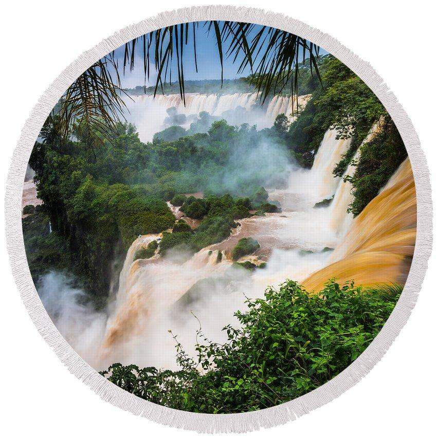America Round Beach Towel featuring the photograph Iguazu Natural Wonder by Inge Johnsson